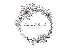 与文本的婚礼花卉框架_13718481
