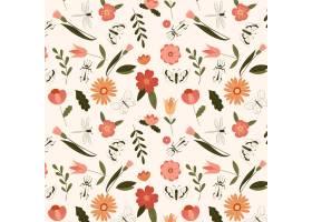 与昆虫的手拉的花卉样式模板_9363868
