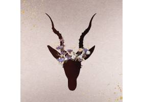 羚羊头装饰着鲜花剪影_14730264