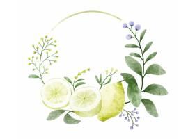 花圈装饰着分支鲜花和叶子用柠檬装饰_17629349