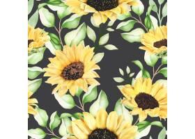 美丽的水彩向日葵无缝模式_16624814