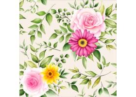 美丽的水彩花卉无缝模式_17901115