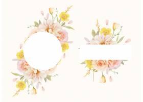 美丽的花卉框架与水彩玫瑰和大丽花_13586976