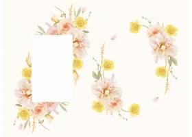 美丽的花卉框架与水彩玫瑰和大丽花_13586983