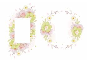 美丽的花卉框架与水彩玫瑰和绿色兰花_15711376