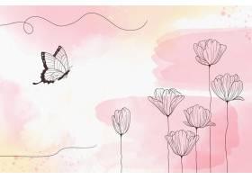 柔软的柔和墙纸与鲜花_10987670