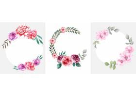 手工制作的水彩花卉花圈套装_14440867