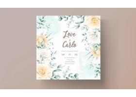 手拉的水彩花卉框架婚礼邀请卡片_15629349