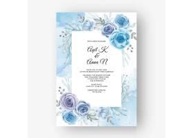 婚礼的美好的花卉框架与花水彩蓝色_15709165