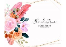水彩桃红色花卉框架背景_15589988