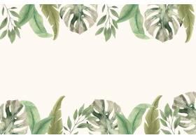 水彩热带叶子背景_14620571