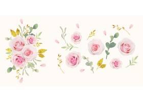 水彩粉红玫瑰和金色装饰品集合_13906370