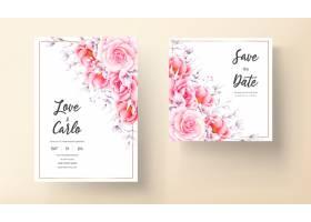 水彩红玫瑰婚礼邀请卡_15629527