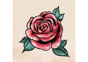 水彩红玫瑰花贴纸覆盖物_14547809