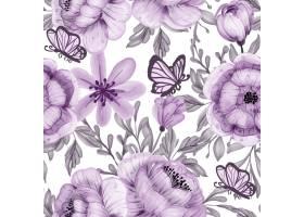 水彩花和蝴蝶紫色无缝模式_14197568