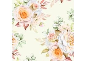 水彩花卉和留下无缝模式_13573072