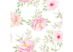 水彩花卉和留下无缝模式_17430782