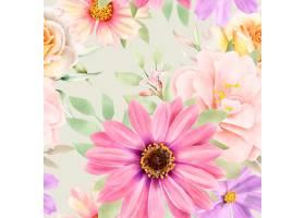 水彩花卉和留下无缝模式_17430794