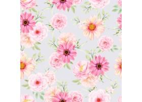 水彩花卉和留下无缝模式_17430864
