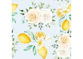 水彩花卉图案与柠檬_14992824