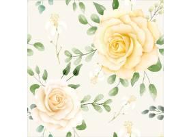 水彩花卉图案与柠檬_14992829