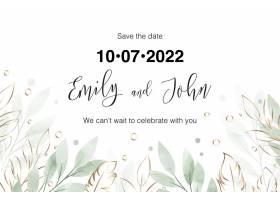 水彩花卉婚礼邀请卡_15974594