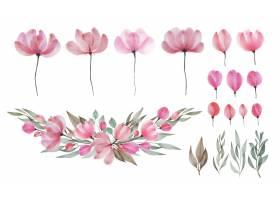 套水彩花和叶子花卉涂上水彩_11065254