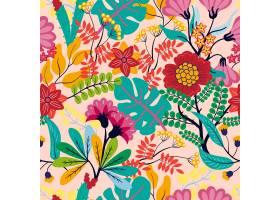 异国情调的叶子和鲜花图案_11828064