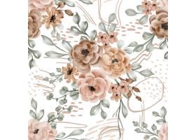 无缝的样式背景花和叶子秋天题材_17948801