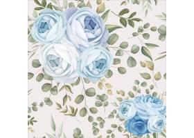 优雅的无缝模式设计蓝色花卉_16781613