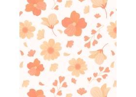在桃子色调的手拉的花卉样式_14213233