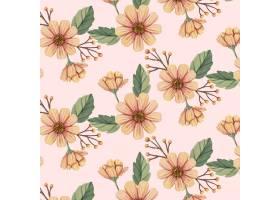 在桃子口气的手画水彩花卉样式_14579510