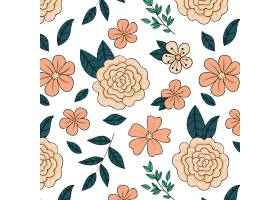 在桃子色调的手拉的花卉样式_14308248