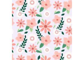 在桃子色调的手拉的花卉样式_14455392