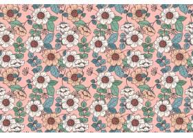 在桃子色调的手拉的花卉样式_14455416