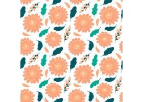 在桃子色调的手拉的花卉样式_14455417