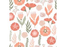 在桃子色调的手拉的花卉样式_14570760