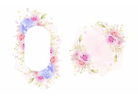 与水彩玫瑰和蓝色绣球花的美丽的花卉框架_14052651