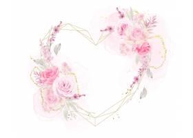 与水彩玫瑰的美丽的花卉框架_11189671