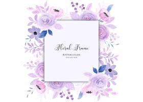 与水彩的紫色花卉框架背景_15744559