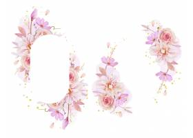 与水彩的美丽的花卉框架玫瑰色大丽花和毛茛_13906166