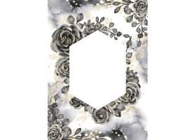 与白色空间的罗斯黑和金水彩背景花卉框架_17574362