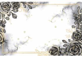 与白色空间的罗斯黑和金水彩背景花卉框架_17574422