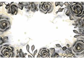 与白色空间的罗斯黑和金水彩背景花卉框架_17574438