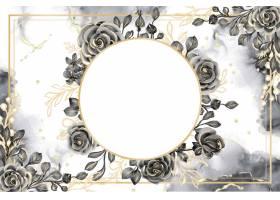 与白色空间的罗斯黑和金水彩背景花卉框架_17574454