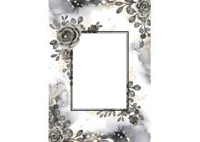 与白色空间的罗斯黑和金水彩背景花卉框架_17574474