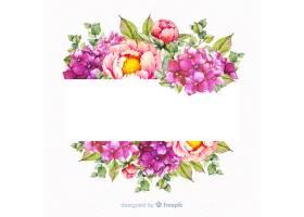 与空白的横幅的水彩花卉框架_4011998