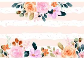 与线和小点背景的水彩花卉框架_15589980