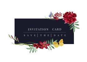 花卉邀请卡片样机图_3374657