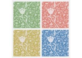 葡萄酒花卉装饰无缝的样式背景集合